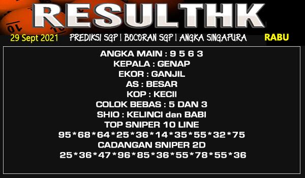 Prediksi Result SGP Rabu 29 September 2021