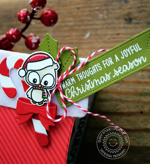 Sunny Studio Stamps: Santa's Stocking Dies Happy Owlidays Foxy Christmas Shaped Christmas Card by Vanessa Menhorn
