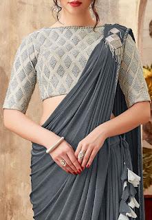 Pre-stitched Lycra Cowl Style Saree in Dark Grey Front Design
