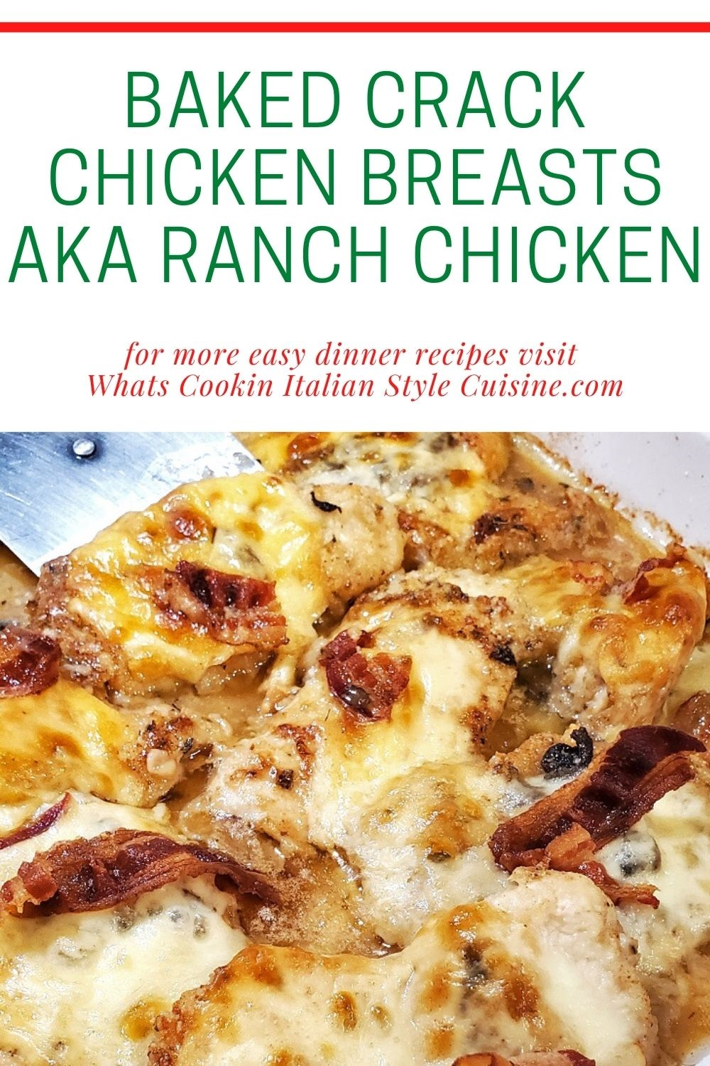 this is a pin for later on how to make baked chicken breast with bacon, ranch and melted cheese