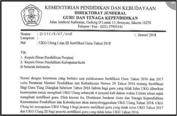 jadwal pelaksanaan UKG ulang tahap I dan III sertifikasi Guru tahun 2018