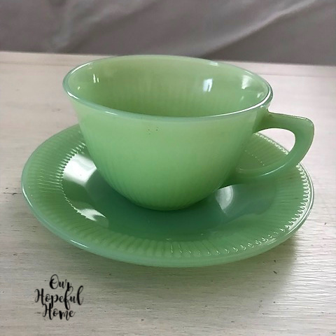 jadeite tea cup saucer Fire-King Anchor Hocking brand