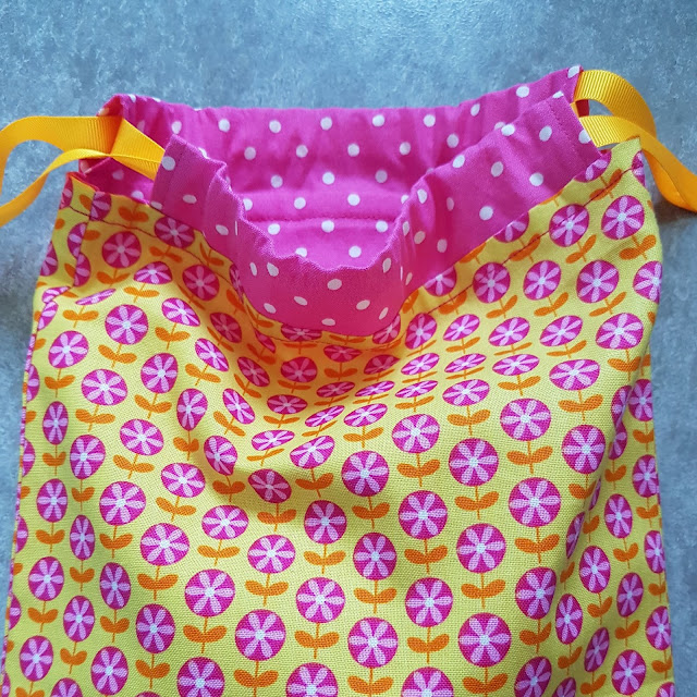 Cute and colourful fabric drawstring bag