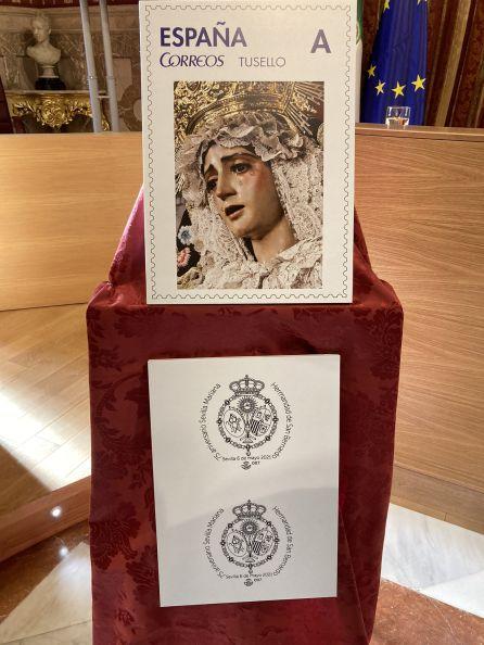 San Bernardo presenta un sello de Correos con motivo del 75 aniversario de la declaración de Sevilla como ciudad Mariana
