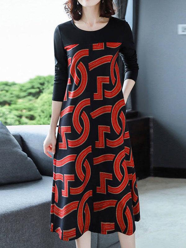 Vestido Trapézio Estampado com Mangas Longas