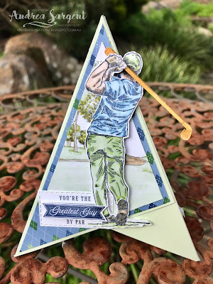 Andrea Sargent, 2020, Stampin Up, Social Stamping, blog hop, Fancy Fold, Tee Pee, Blends, Pyramid, Country Club DSP, Country Club Suite