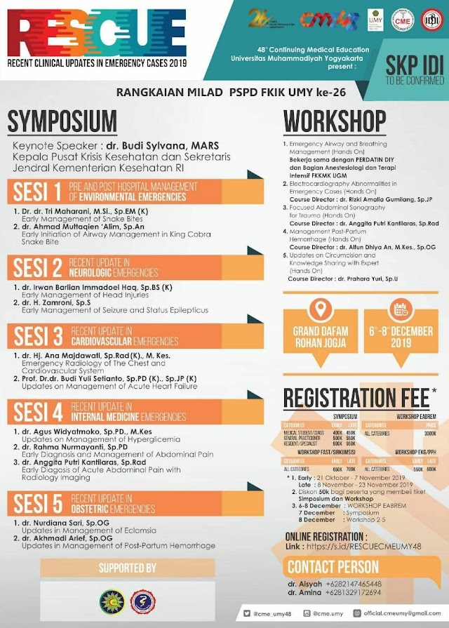 """48th CONTINUING MEDICAL EDUCATION  SYMPOSIUM & WORKSHOP  RESCUE : """"Recent Clinical Updates in Emergency Cases 2019"""""""