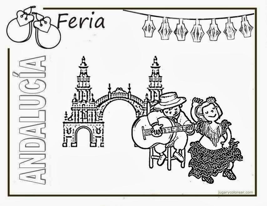 Laminas De Atracciones De Feria Para Pintar: Dibujos Para Colorear Feria De Abril