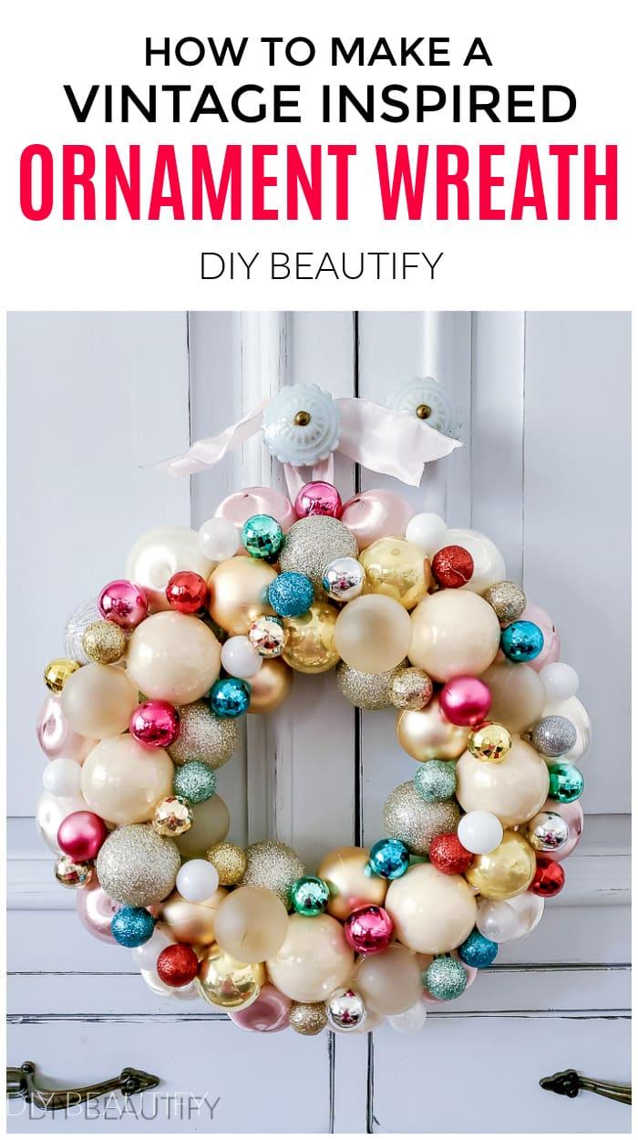 shiny pastel ornament ball wreath
