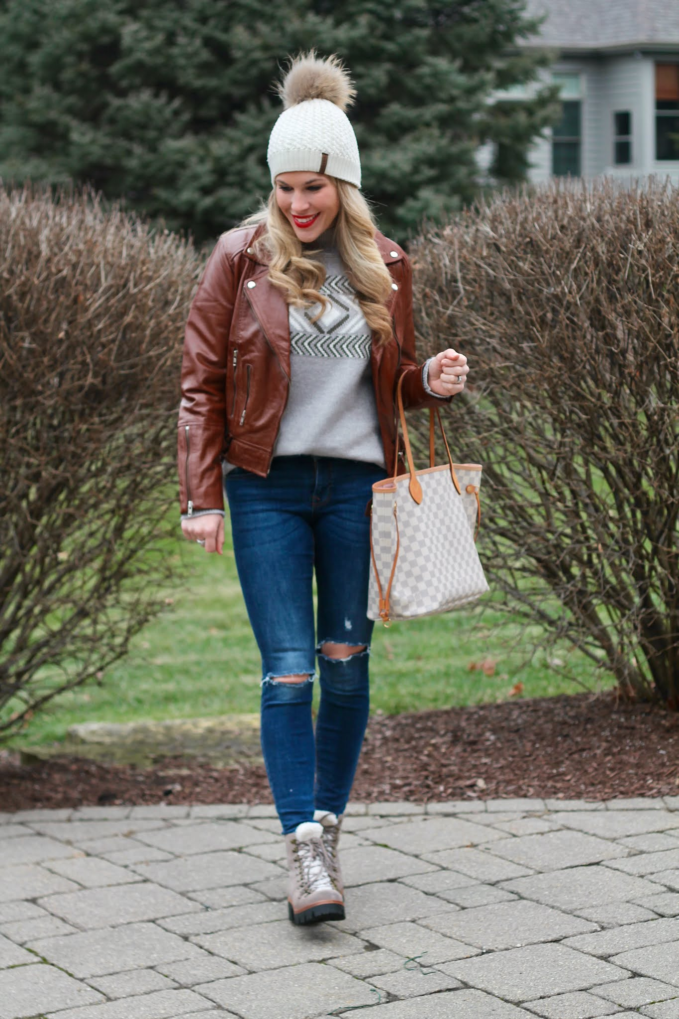 stud earrings, cognac leather moto jacket, f jackets review, aventura galena sweater, grey combat boots,