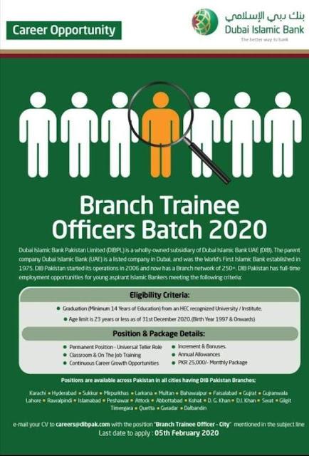 Dubai Islamic Bank Jobs 2020 Pakistan for Branch Trainee Officers