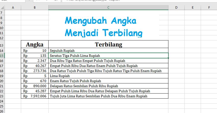 Cara Mengubah Angka Menjadi Huruf Terbilang di Excel ...