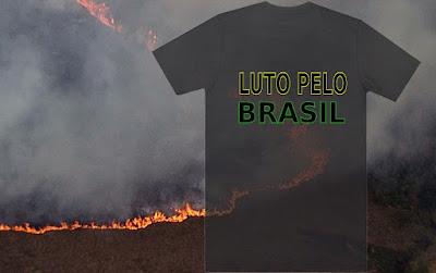 Camiseta preta com escrita Luto Pelo Brasil sobre queimada na Amazônia