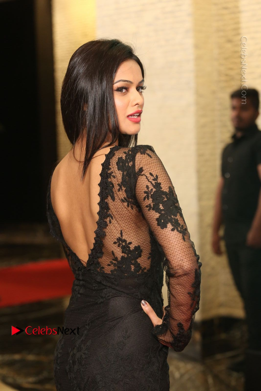 Soniya Stills in Beautiful Black Long Dress at SIIMA Short Film Awards 2017