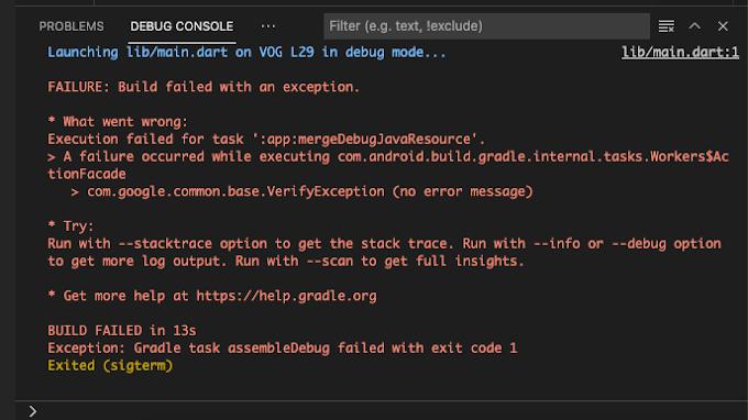 """วิธีแก้ error """"A failure occurred while executing com.android.build.gradle.internal.tasks.Workers$ActionFacade"""""""