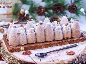 Bûche de Noël chocolat noix de pécan