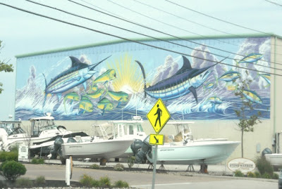 Atlantic Blue Marlin Wall Mural in Stone Harbor by David Dunleavy