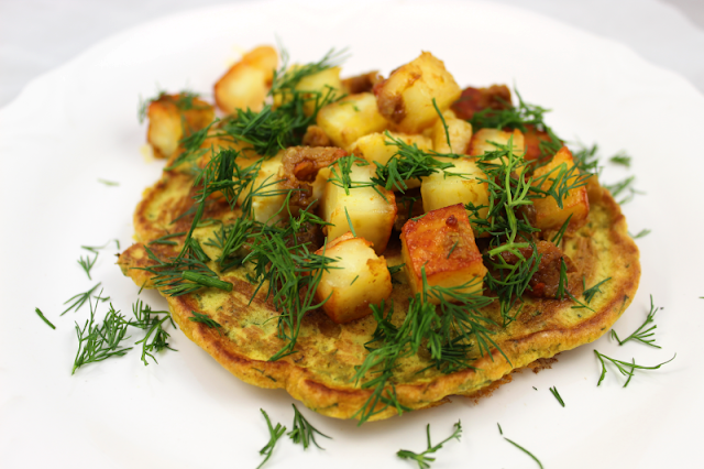 Chickpea Flour Pancakes with Paneer and Lime Pickle