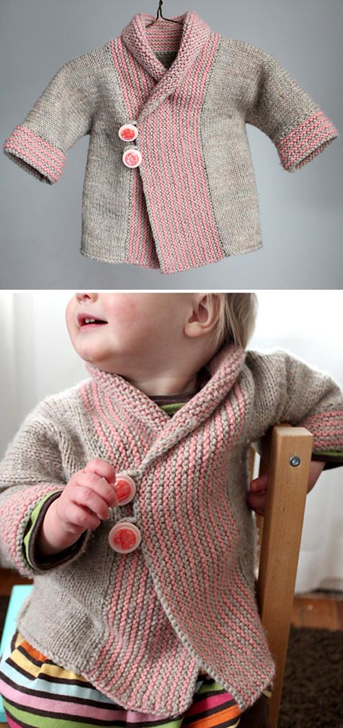Shawl Collar Baby Coat - Knitting Pattern
