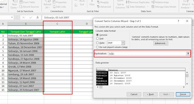 Cara Memisahkan Tempat Tanggal Lahir di Excel