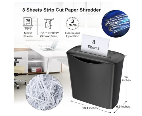 Bonsaii 8 Sheets Strip Cut Shredders for Home Office