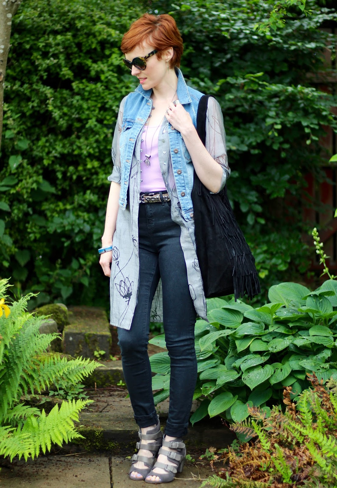 Sheer grey shirt, lilac vest, denim waistcoat, black Skinny jeans | Fake Fabulous | PPP 5