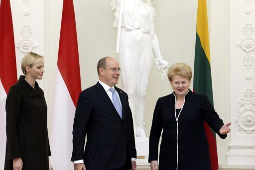 Princess Charlene and Prince Albert of Monaco met with President Dalia Grybauskaitė and Lithuania's Prime Minister Andrius Kubilius