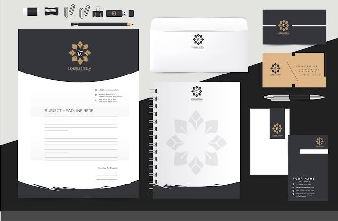 corporate identity sets flower logotype black white decor free vector