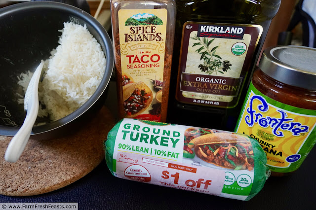 image of ingredients used to make Instant Pot Taco Rice