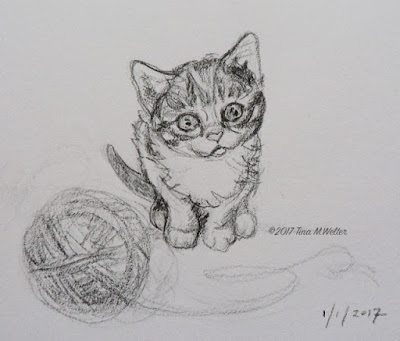 """But I'm so Little"" 4""x 5"" sketch, pencil on paper © 2017 Tina M Welter Small kitten with ball of yarn."