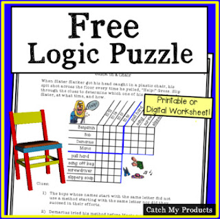 Solve logic puzzles for #FREE on Teacher Pay Teachers for schools first. #education #teachersofthegram #TEACHers