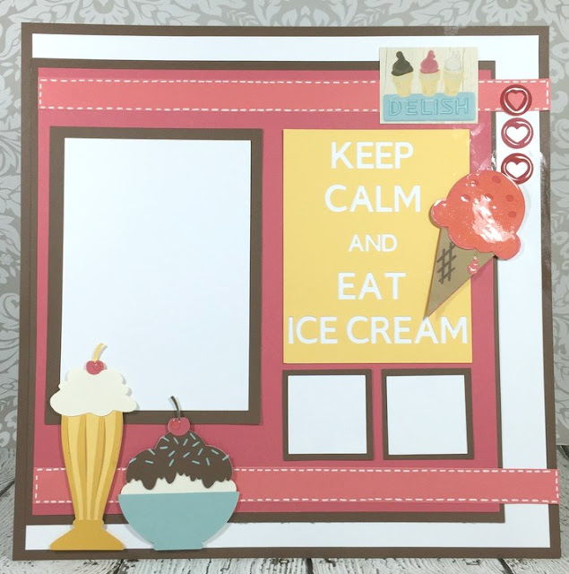 Cricut Keep Calm ice cream scrapbook layout