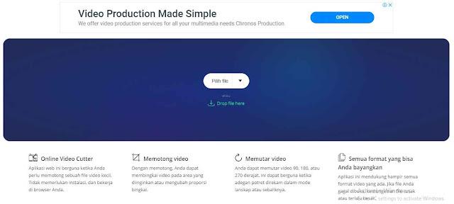 ada nama Video Cutter mungkin ini salah satu aplikasi video editor yang sangat sederhana dimana sesuai namanya sobat hanya bisa memotong video, memutar kemiringan video, dan beberapa hal kecil lainnya bisa sobat lakukan, semua proses editing cukup dilakukan melalui browser sobat.