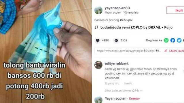 Viral Curhatan Warganet Dapat Bansos Rp 600 Ribu Dipotong Jadi Rp 200 Ribu