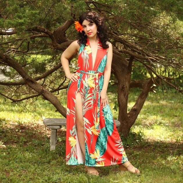 Lovelywholesale Tropical Print Dress
