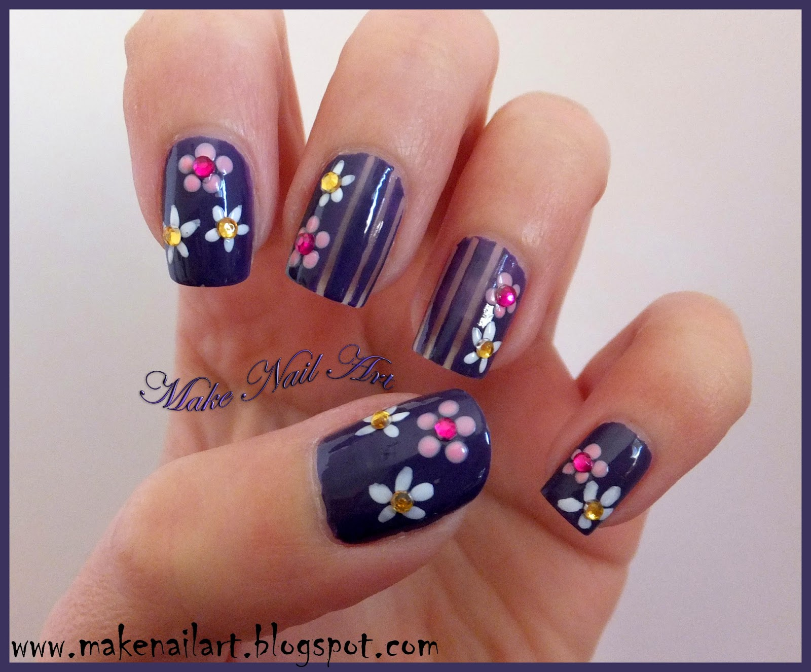 Make Nail Art: Easy Flower Nail Design For Spring Nail Art Tutorial