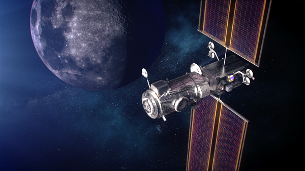 An artist's concept of NASA's Gateway space station in orbit around the Moon.