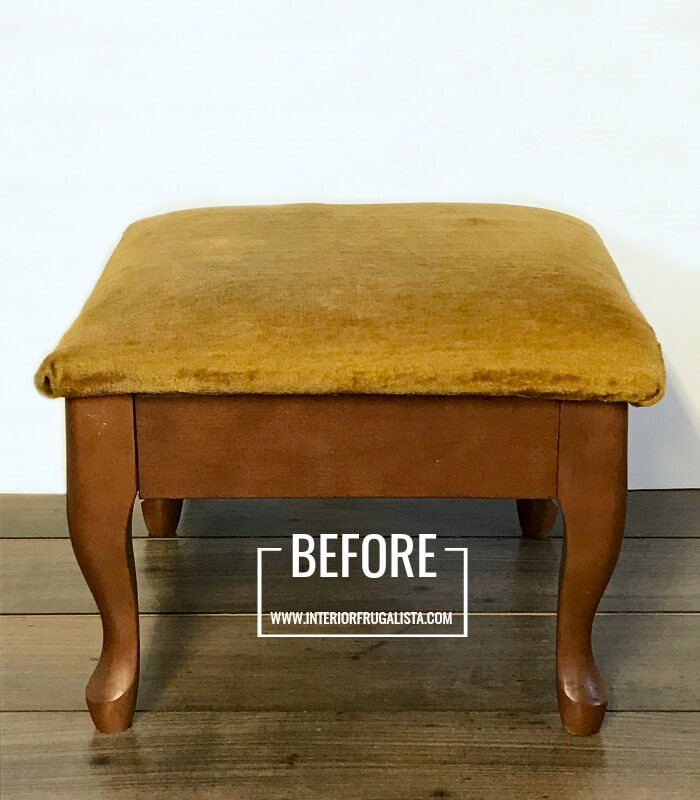 Embossed Leather Footstool Makeover Before