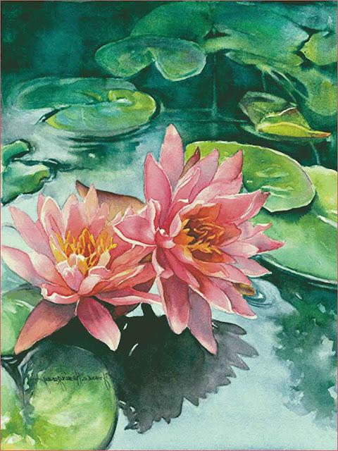 lukisan-bunga-teratai