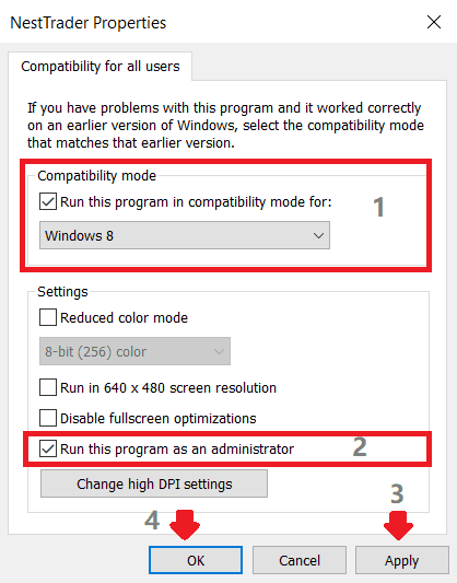 windows compatibility settings for all users