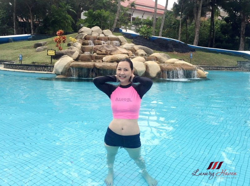 bintan lagoon resort pool barrel rashguard swimwear