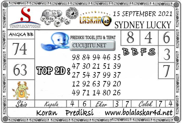 Prediksi Togel Sydney Lucky Today LASKAR4D 15 SEPTEMBER 2021