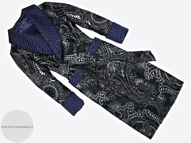 mens black paisley dressing gown cotton robe quilted silk smoking jacket dark navy blue