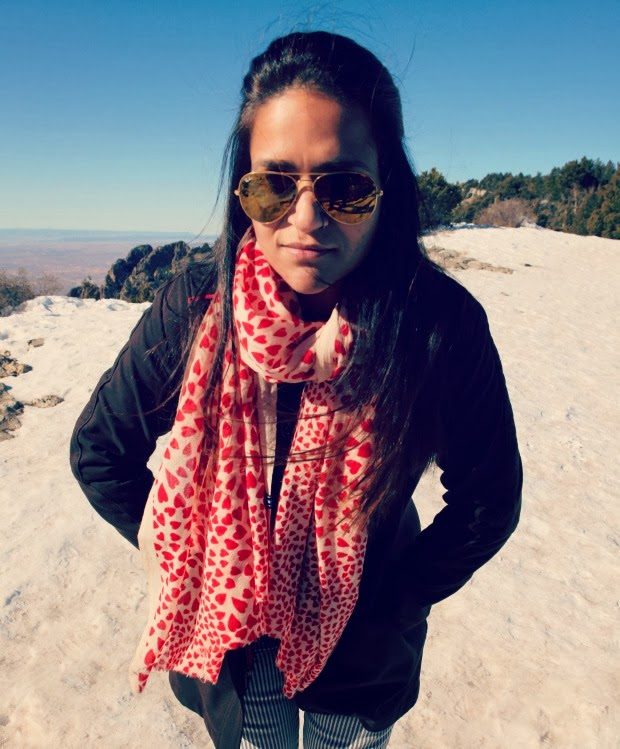 Heart Print Scarf, Lucky Brand Jeans, GAP Boots,, Ray Ban Sunglasses, Tanvii.com