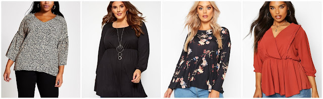 collage of tops from boohoo, yours clothing and river island