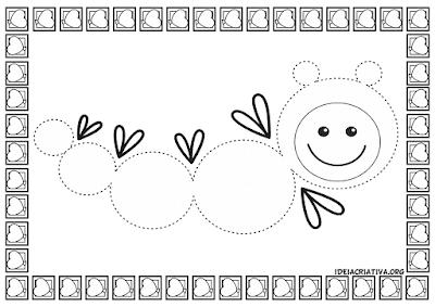 Atividades Psicomotricidade com desenhos pontilhado de lagarta