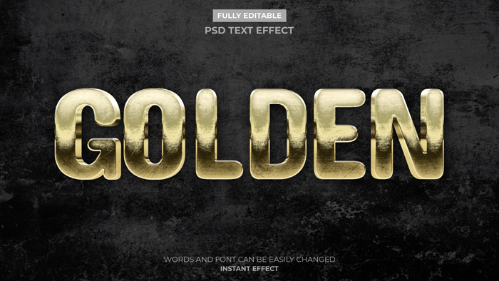 Antique Gold Text Effect Mockup Psd Template