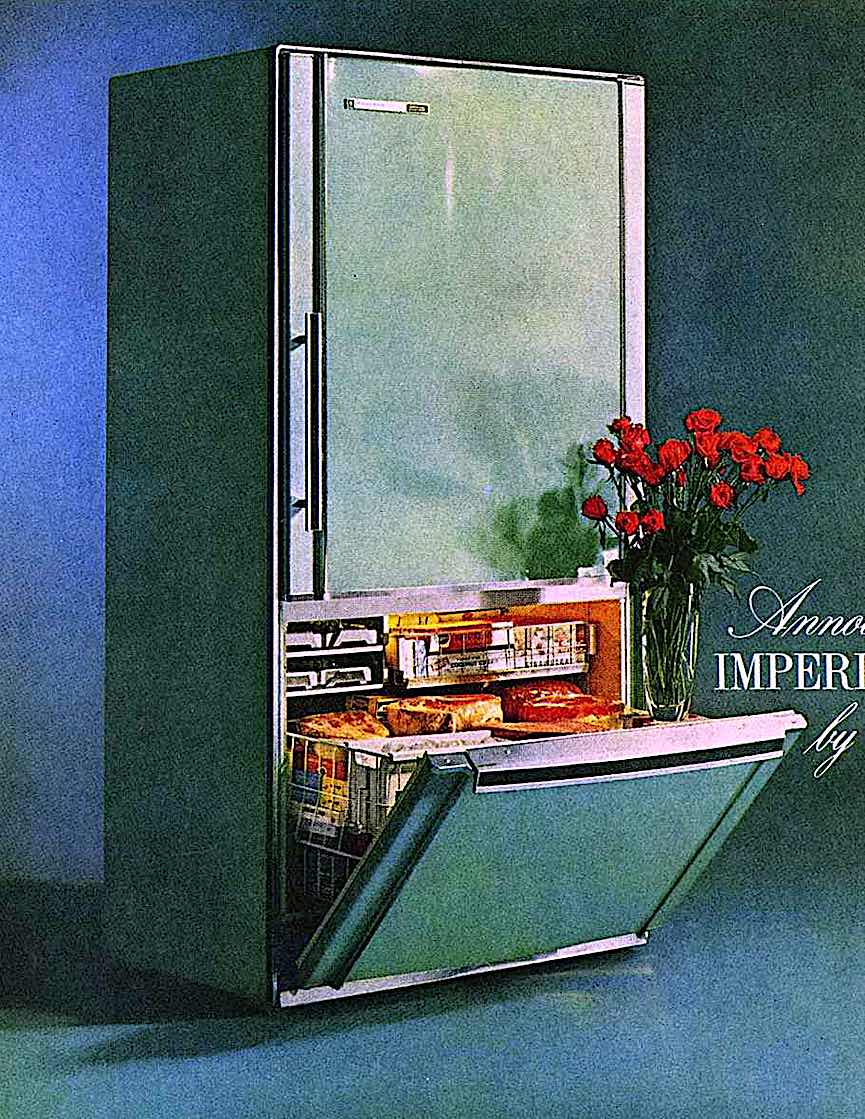 """a 1960s Frigidaire kitchen refrigerator,  """"The Imperial Nineteen"""" a color photograph"""
