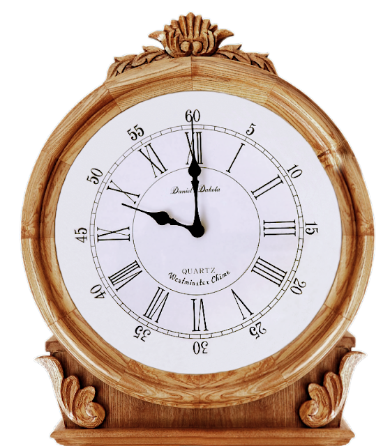 A grand wooden clock with traditional styling and a Westminster chime, but powered by battery.