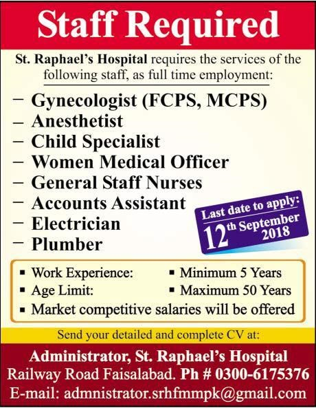 September 2018 Jobs Vacancies in ST Raphaels Hospital Faisalabad
